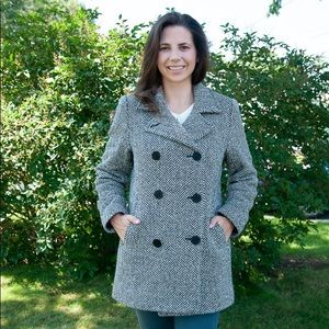 LL Bean Black and White Houndstooth Peacoat Jacket